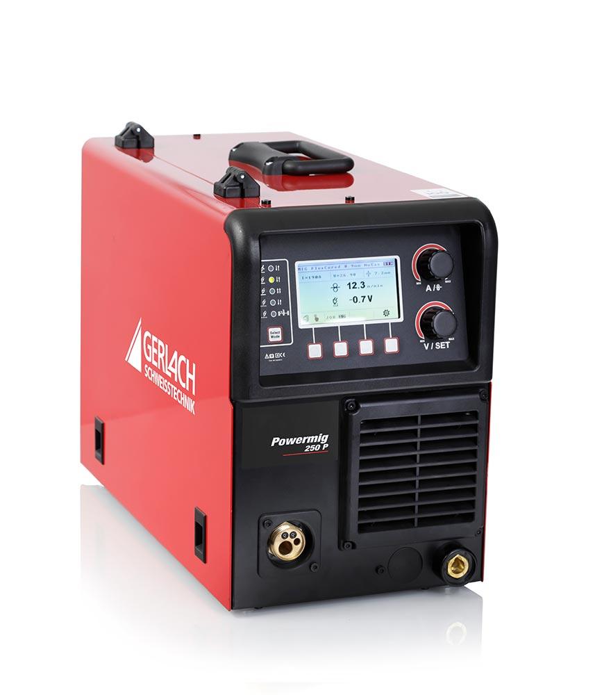 Die Powermig 250 P bietet hervorragende Pulsfunktionen zum spritzerfreien Schweissen von Stahl, CrNi und Aluminium